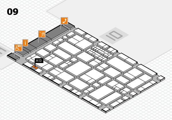 EuroShop 2017 hall map (Hall 9): stand A13