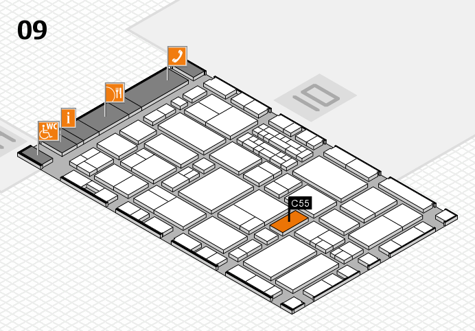 EuroShop 2017 hall map (Hall 9): stand C55