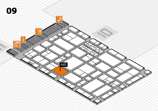 EuroShop 2017 hall map (Hall 9): stand A40