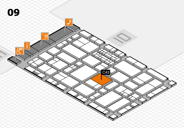 EuroShop 2017 hall map (Hall 9): stand C43