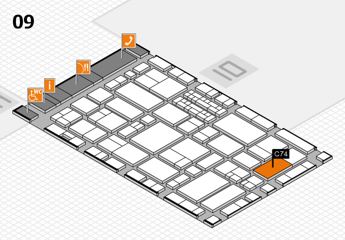 EuroShop 2017 hall map (Hall 9): stand C74