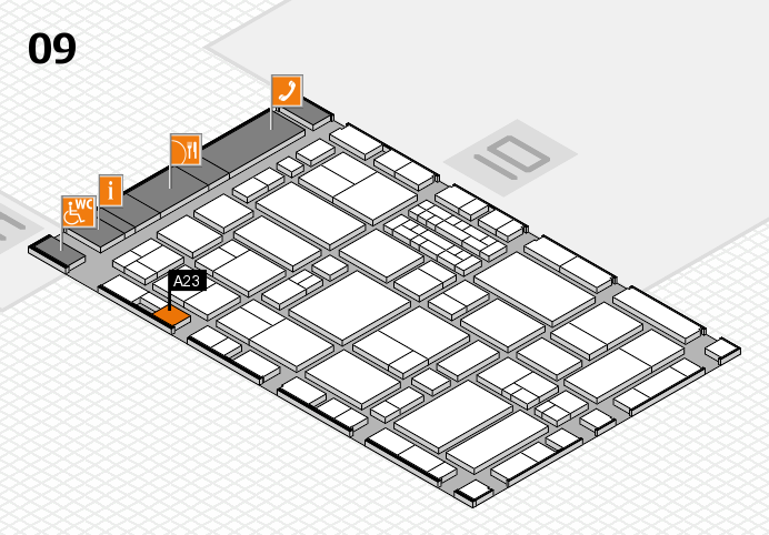 EuroShop 2017 hall map (Hall 9): stand A23