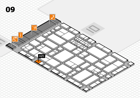 EuroShop 2017 hall map (Hall 9): stand A25