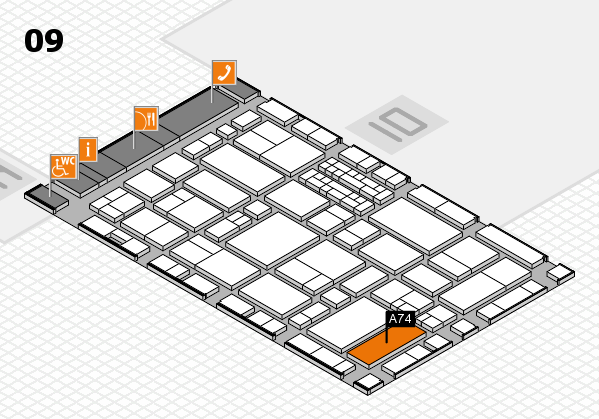 EuroShop 2017 hall map (Hall 9): stand A74