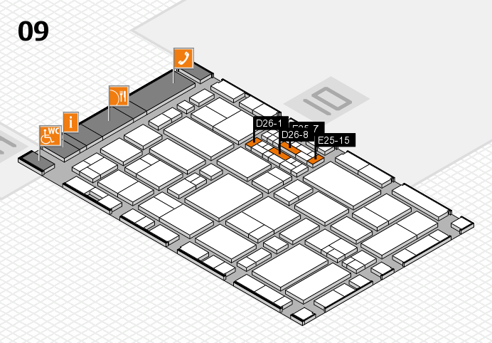 EuroShop 2017 hall map (Hall 9): stand D26-1, stand E25-15