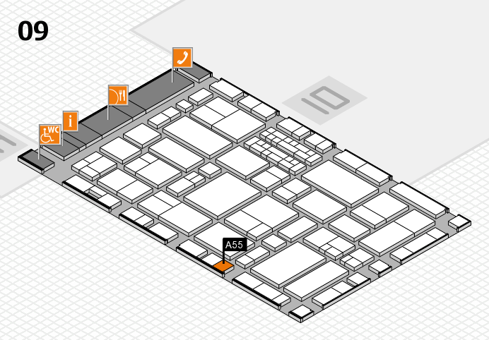EuroShop 2017 hall map (Hall 9): stand A55