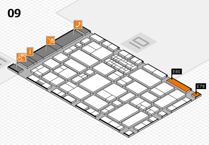 EuroShop 2017 hall map (Hall 9): stand E60, stand E78