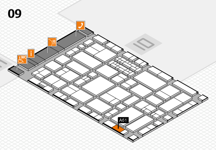 EuroShop 2017 hall map (Hall 9): stand A61