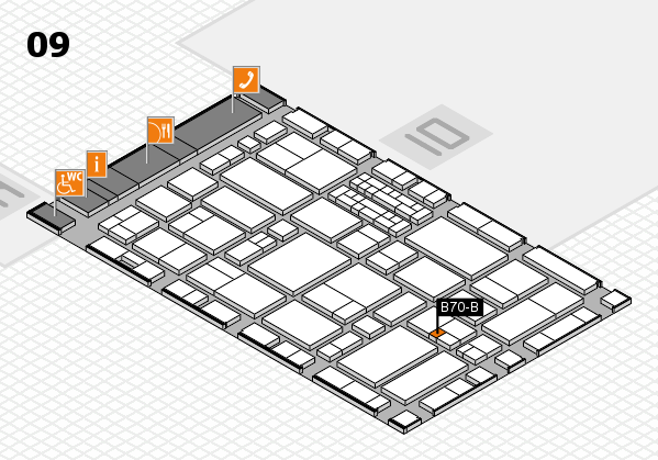 EuroShop 2017 hall map (Hall 9): stand B70-B