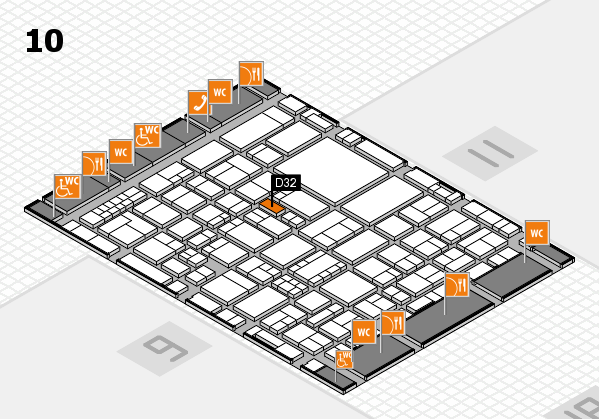 EuroShop 2017 hall map (Hall 10): stand D32