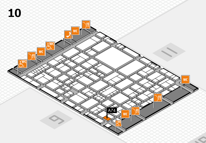 EuroShop 2017 hall map (Hall 10): stand A74