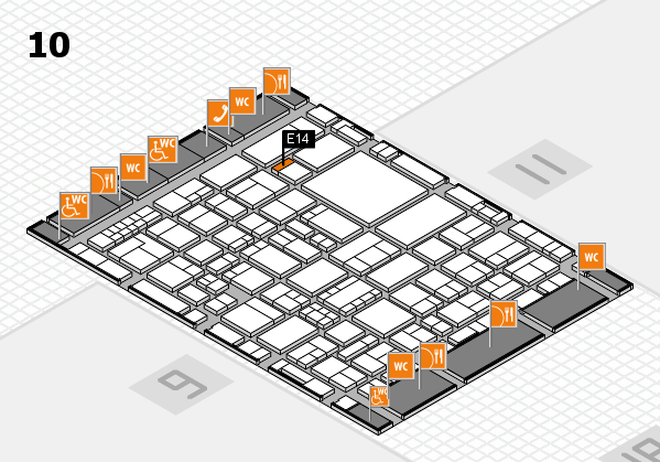 EuroShop 2017 hall map (Hall 10): stand E14