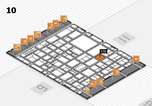 EuroShop 2017 hall map (Hall 10): stand E58
