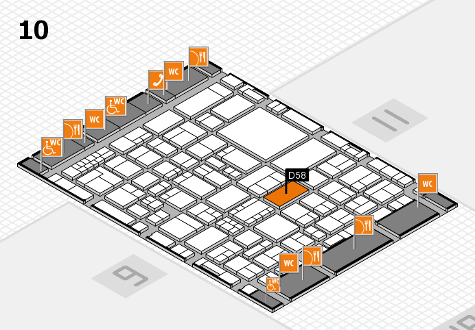EuroShop 2017 hall map (Hall 10): stand D58