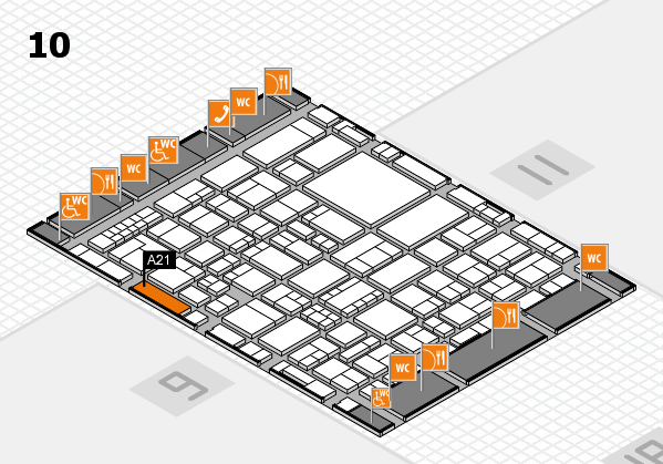 EuroShop 2017 hall map (Hall 10): stand A21