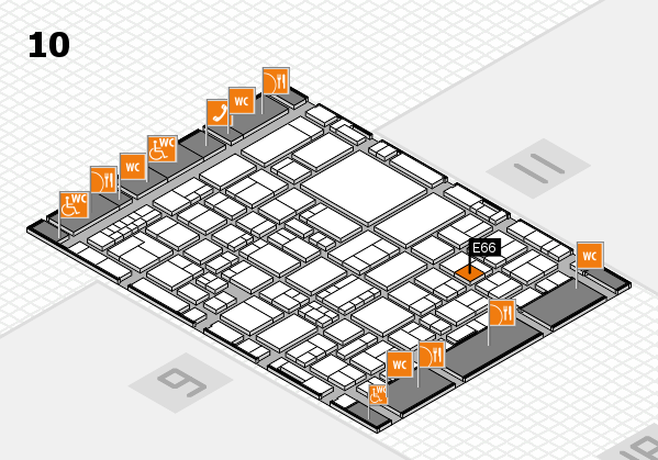 EuroShop 2017 hall map (Hall 10): stand E66