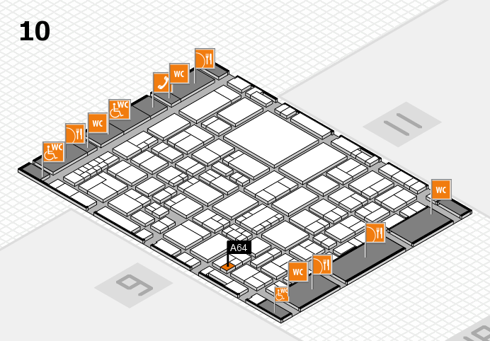 EuroShop 2017 hall map (Hall 10): stand A64