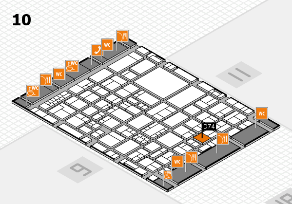 EuroShop 2017 hall map (Hall 10): stand D74