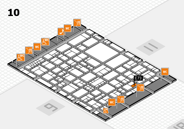EuroShop 2017 hall map (Hall 10): stand E73