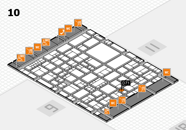 EuroShop 2017 hall map (Hall 10): stand D71