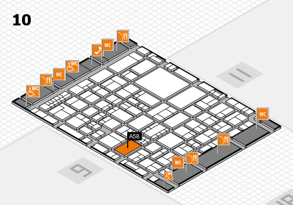 EuroShop 2017 hall map (Hall 10): stand A58