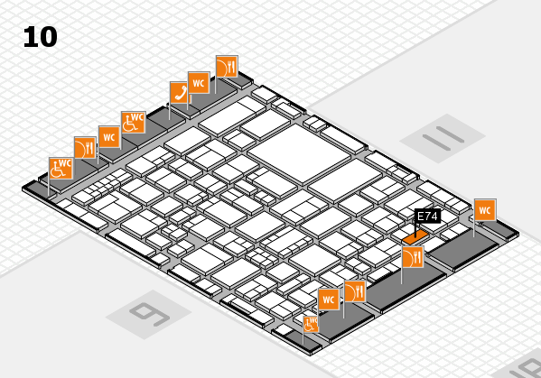EuroShop 2017 hall map (Hall 10): stand E74