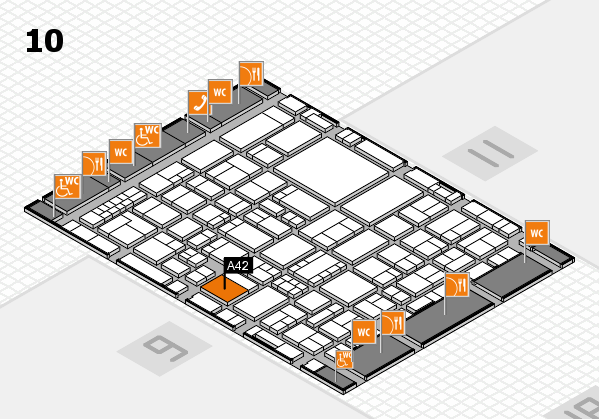 EuroShop 2017 hall map (Hall 10): stand A42