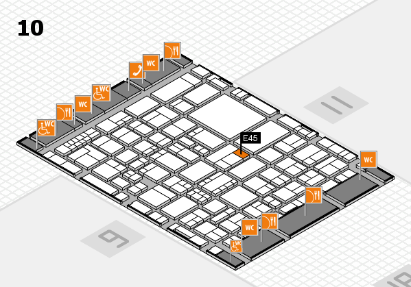 EuroShop 2017 hall map (Hall 10): stand E45