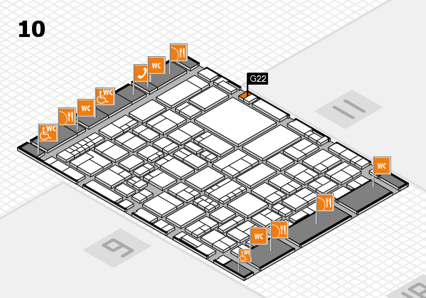 EuroShop 2017 hall map (Hall 10): stand G22
