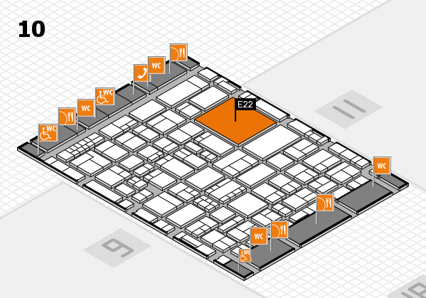 EuroShop 2017 hall map (Hall 10): stand E22