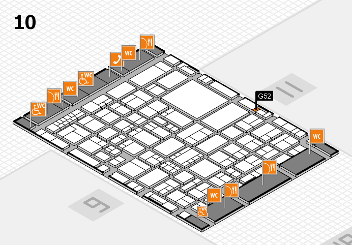 EuroShop 2017 hall map (Hall 10): stand G52