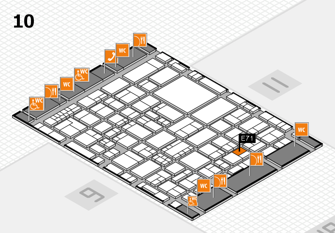 EuroShop 2017 hall map (Hall 10): stand E71