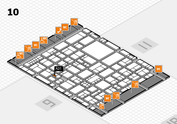 EuroShop 2017 hall map (Hall 10): stand A31