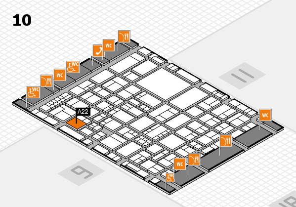 EuroShop 2017 hall map (Hall 10): stand A22