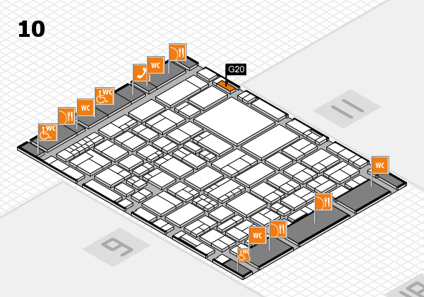 EuroShop 2017 hall map (Hall 10): stand G20