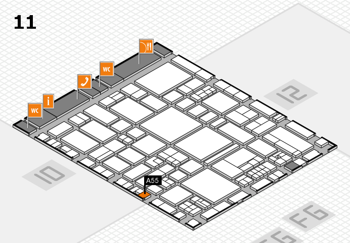 EuroShop 2017 hall map (Hall 11): stand A55
