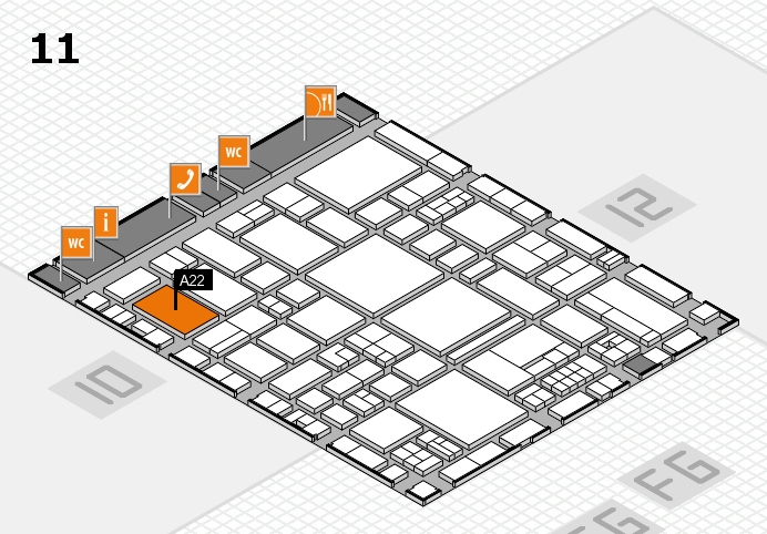 EuroShop 2017 hall map (Hall 11): stand A22