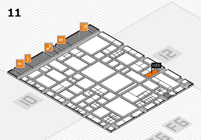 EuroShop 2017 hall map (Hall 11): stand H55
