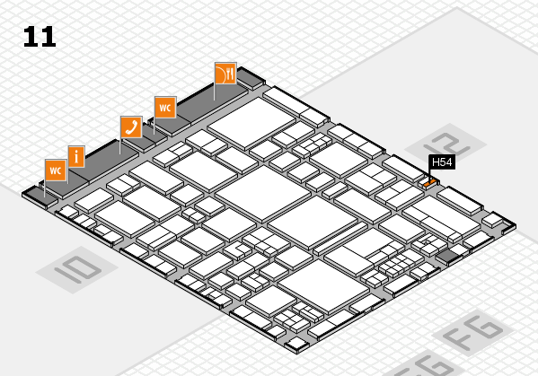 EuroShop 2017 hall map (Hall 11): stand H54