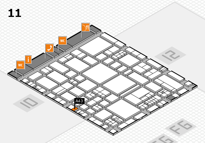 EuroShop 2017 hall map (Hall 11): stand A43