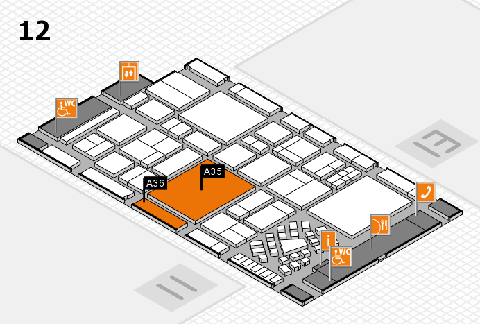 EuroShop 2017 hall map (Hall 12): stand A35, stand A36