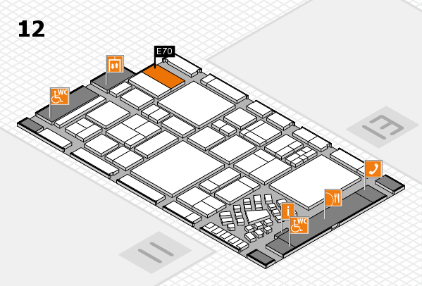 EuroShop 2017 hall map (Hall 12): stand E70