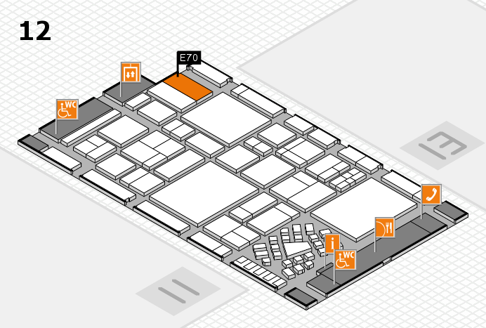 EuroShop 2017 hall map (Hall 12): stand E70