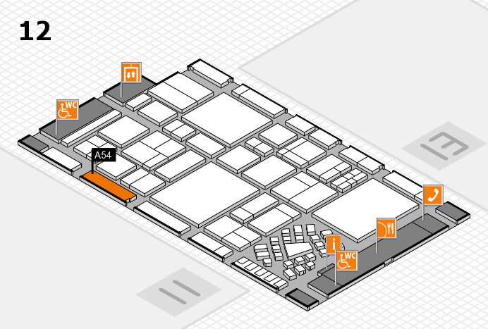 EuroShop 2017 hall map (Hall 12): stand A54