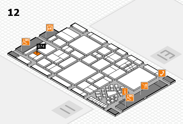 EuroShop 2017 hall map (Hall 12): stand B74