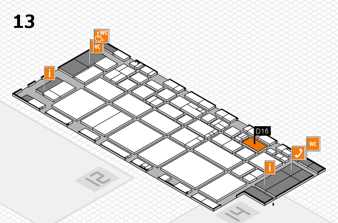 EuroShop 2017 hall map (Hall 13): stand D16