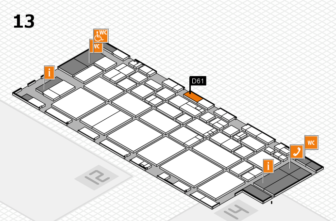 EuroShop 2017 hall map (Hall 13): stand D61