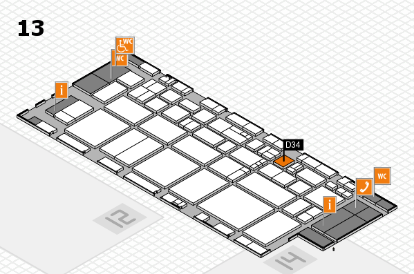 EuroShop 2017 hall map (Hall 13): stand D34