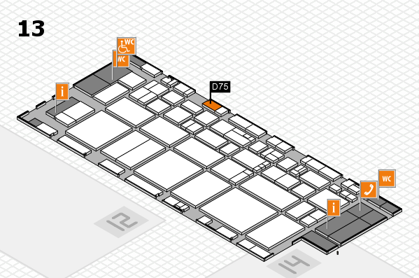 EuroShop 2017 hall map (Hall 13): stand D75