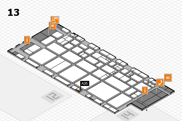 EuroShop 2017 hall map (Hall 13): stand A36